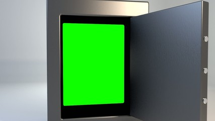 Safe vault closing greenscreen valuable security outro