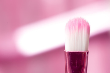 close-up pink professional cosmetic brush