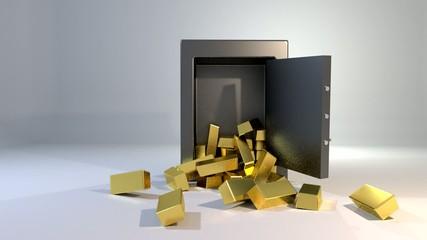 Safe vault fall spill gold bars falling spilling valuable win la