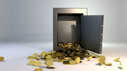 Safe vault fall spill gold coins falling spilling valuable win l