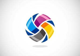 circle abstract vector spin colorful vector logo