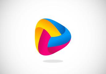circle abstract ribbon color vector logo
