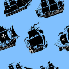 Seamless pattern with silhouettes of sailing vessels