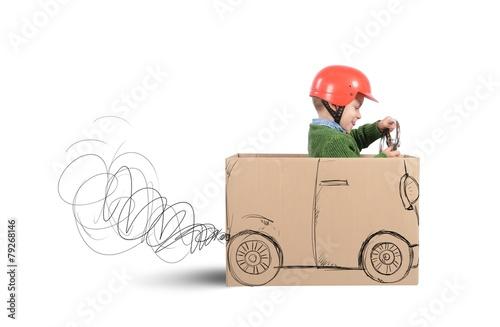 Leinwandbild Motiv Cardboard car