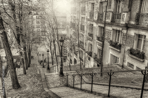 Leinwandbild Motiv The historic district of Montmartre in Paris,France