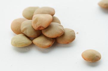 Lentils close-up on white background