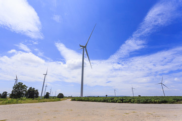 Wind Turbine for alternative energy on background blue  sky .