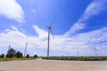 Wind Turbine for alternative energy on background blue  sky .