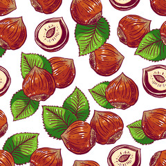 seamless background with hazelnuts