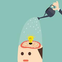 Growing idea in head - Vector concept