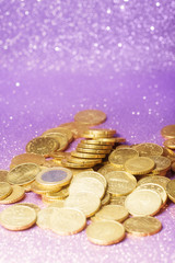 Euro coin stack over abstract background