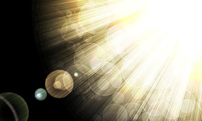 shining rays of glare  on a dark background