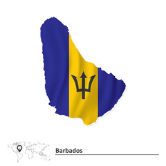 Map of Barbados with flag