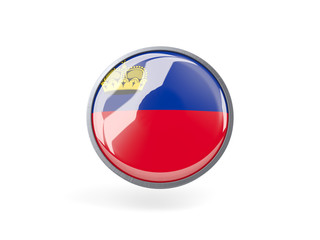 Round icon with flag of liechtenstein
