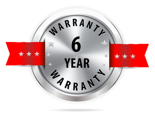 silver 6 year warranty button seal graphic with red ribbons