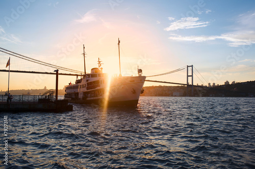 Canvas Turkey sunset landscape of Bosphorus, Istanbul