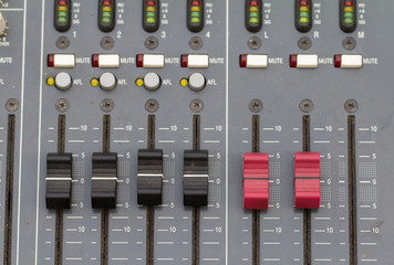 buttons equipment for sound mixer control. select focus