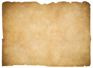 Old blank parchment or paper isolated. Clipping path is included