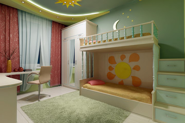 Interior of the modern childroom 3D rendering