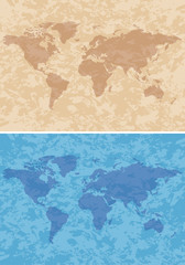beige and blue grungy background with map - vector