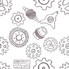 doodle gears seamless pattern