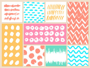 Set of creative cards with blots and scribbles.