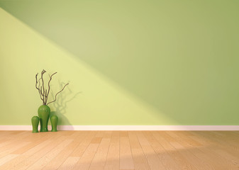 empty interior with a green wall and vase