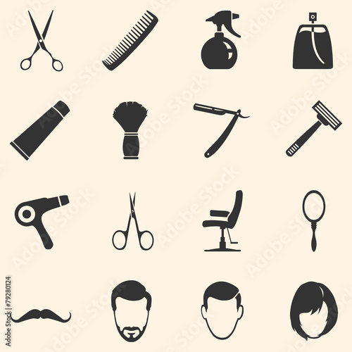 Vector Set of Barber Shop Icons - 79280124