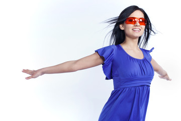 Futuristic girl with red sunglasses