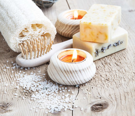Natural Soap.Home Spa Setting with burning Candles