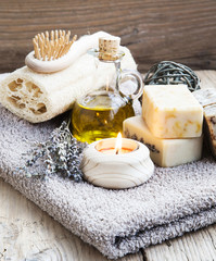 Natural Home Spa Setting with Bodycare Products