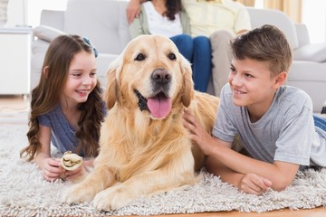 Siblings lying with dog while parents sitting on sofa