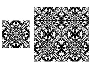 Black and white geometric background, seamless pattern