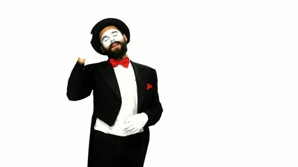 Man mime watches something and uses binocular on white
