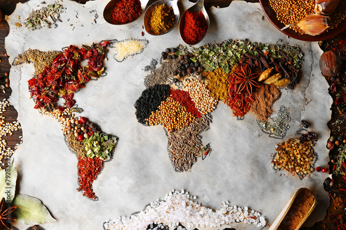 Map of world made from different kinds of spices, close-up - 79283532
