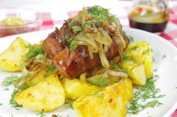 pork sausages with potato