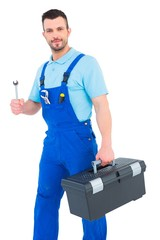 Repairman with toolbox and spanner
