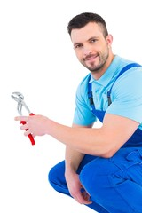 Repairman holding pliers