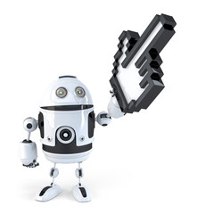 Robot pointing with huge cursor. Isolated. Clipping path