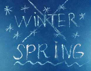 Goodbye Winter hello Spring written on board