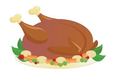 Roasted holiday turkey on platter with garnish
