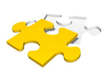 Puzzle, Puzzleteile, Puzzlespiel, Jigsaw, gelb, Lösung, Ziel, 3D