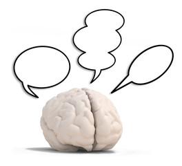 human brain with three speech ballons