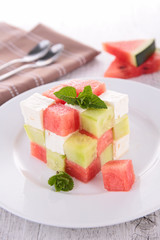 watermelon,feta and cucumber