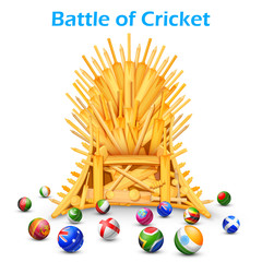 Cricket bat throne with different participating countries
