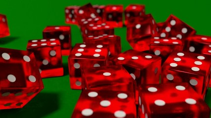 Dice rolling clear red slow motion closeup DOF on green felt tab