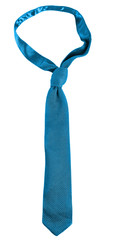 Blue male tie isolated on white