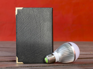 Light bulb and book