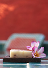Natural soap with flower vertical