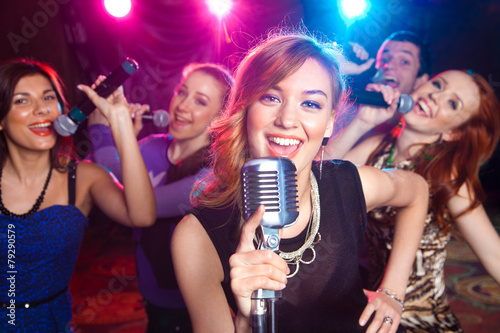 Leinwanddruck Bild karaoke
